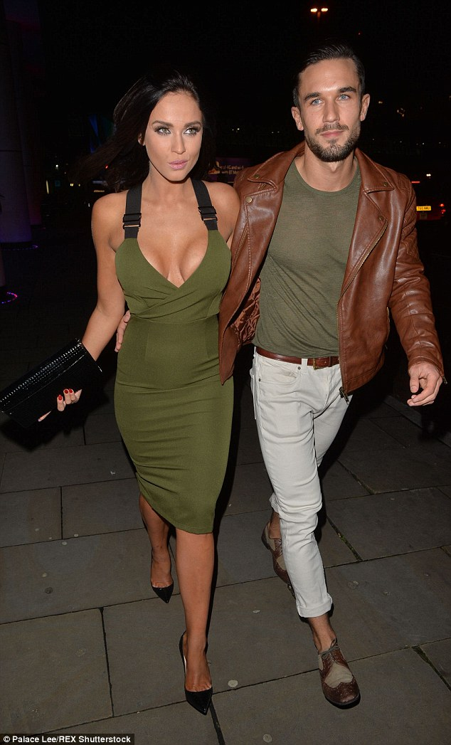 Not an inch to pinch: Vicky showed off her sensational curves in the sexy gown while her Judge Geordie co-star and later kissing partner Alex Cannon wore white jeans and brown leather bomber jacket