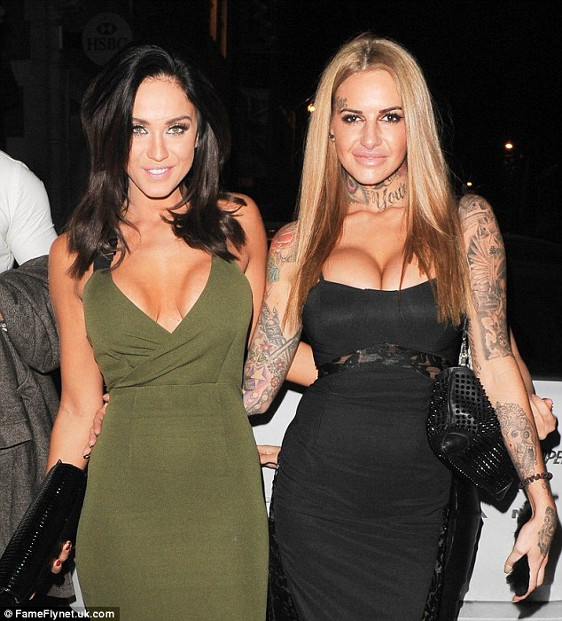 Inked-up: Tattooed beauty Jem Lucy, who starred in the third season of Ex On The Beach, looked stunning in a skin-tight black gown which showed off an abundance of cleavage
