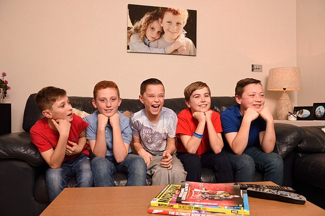 Friends Harry, Will, Max, Spencer and Daniel (left to right) were watching television in Kent