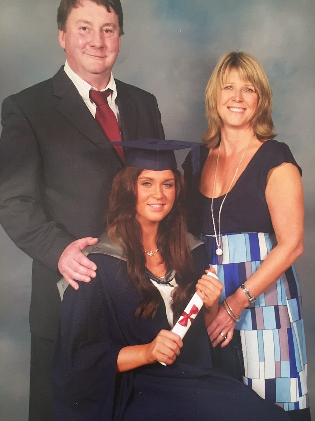Vicky, pictured here with her mother Caroll and father John on her graduation, left Liverpool John Moores University with a 2:1 in media and culture studies