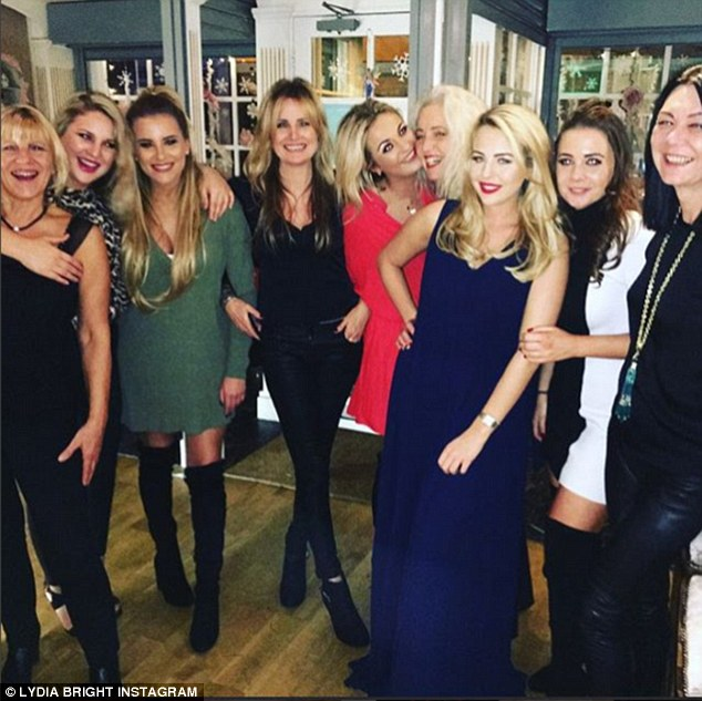 Another night another party: Lydia enjoyed a night on the town with her best pals and their mums for her self-styled 'Mums and their daughters. Xmas party 2015' on Friday