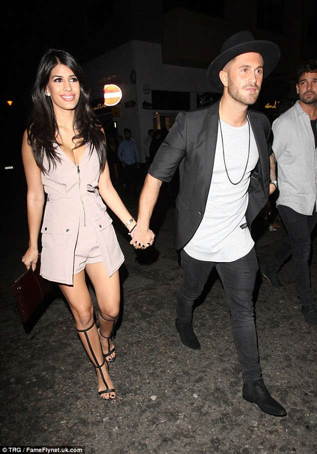 Date night: Former TOWIE star Jasmin Walia was also enjoying a night out at the venue with boyfriend Ross Worswick
