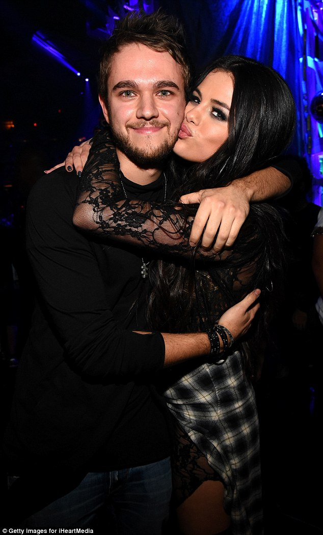 A friendly couple? Selena Gomez gave ex DJ Zedd a smooch on the cheek before she went on for her set during Z100's Jingle Ball in New York City on Friday