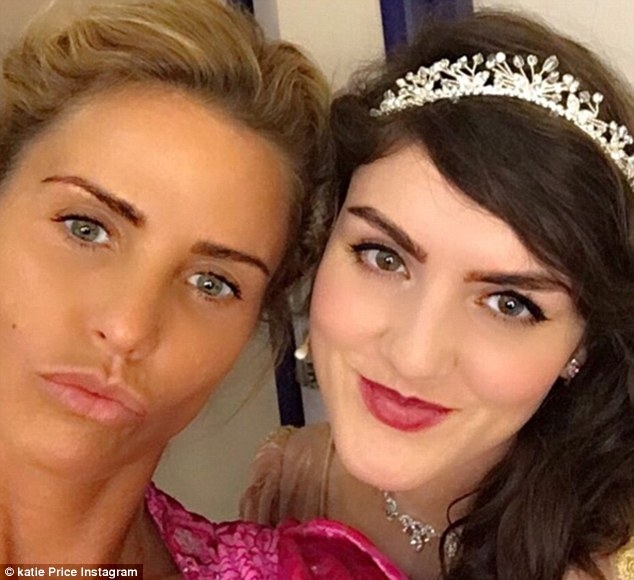 Pre-show jitters! Fresh faced Katie gave her skin a rest from the heavy stage make-up as she posed alongside Carla Nella who plays the eponymous Sleeping Beauty in the pantomime