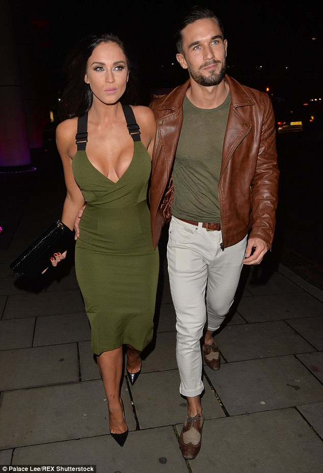 Mystery man: The ex-Geordie Shore star was joined by a mystery pal who she remained close to