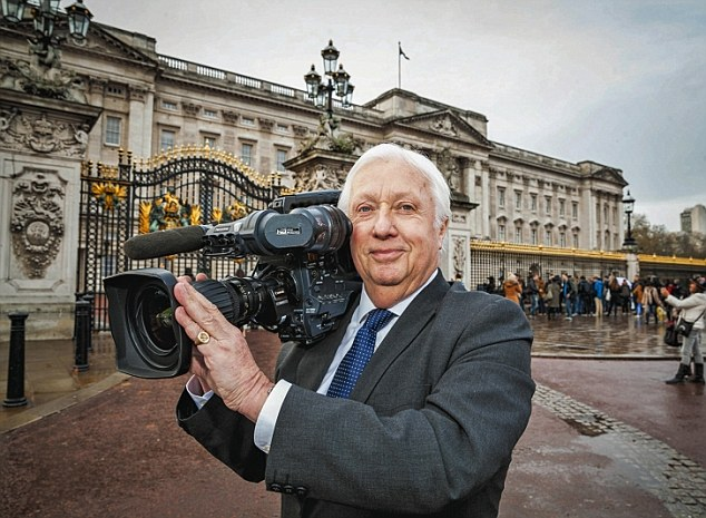 Peter, pictured outside Buckingham Palace earlier this year, has been in the broadcasting industry for the past 50 years and has spent 18 of them as the Queen's official camera man