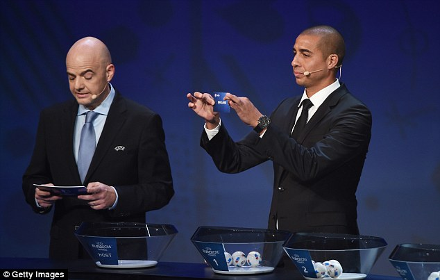Former France striker David Trezeguet (right) picks England in Group B during the draw for Euro 2016