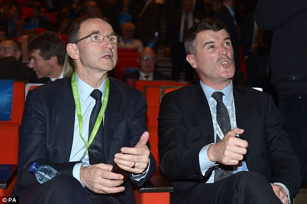 Republic of Ireland boss Martin O'Neil (left) and assistant Roy Keane await the draw for Euro 2016