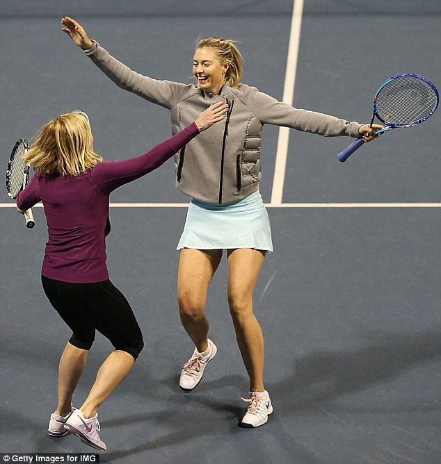 Having a laugh: Chelsea Handler and Maria Sharapova were gleeful after thrashing Andy Roddick and Will Arnett at a tennis exhibition in Los Angeles on Saturday