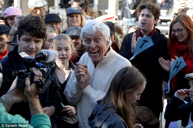 Clean sweep: Dick Van Dyke was treated to a 90th birthday celebratory flash mob on Saturday in Los Angeles