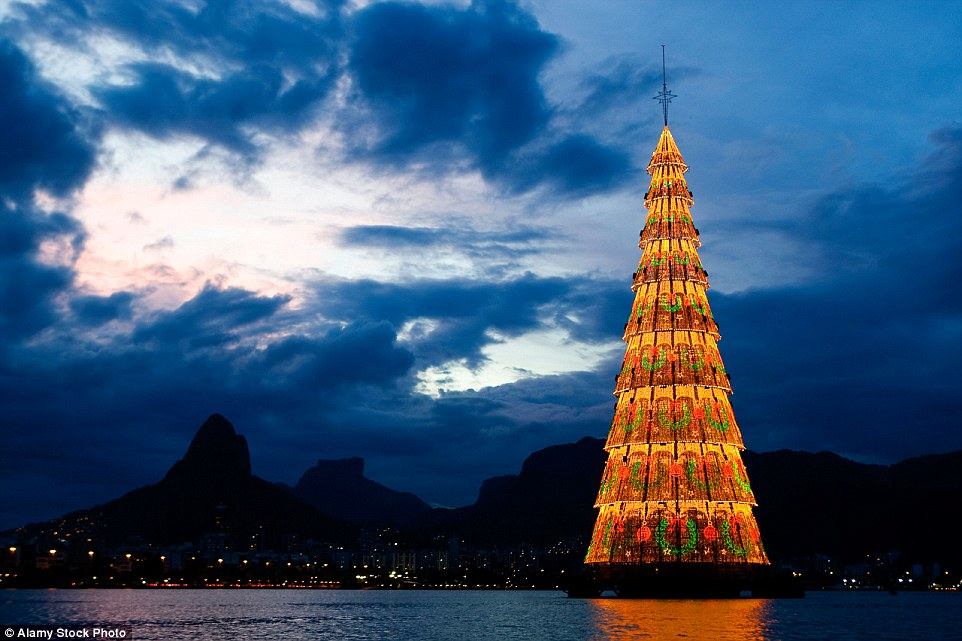The tree at Lagoa Rodrigo de Freitas in Rio de Janeiro is the world's tallest floating Christmas tree and lights up the night every December