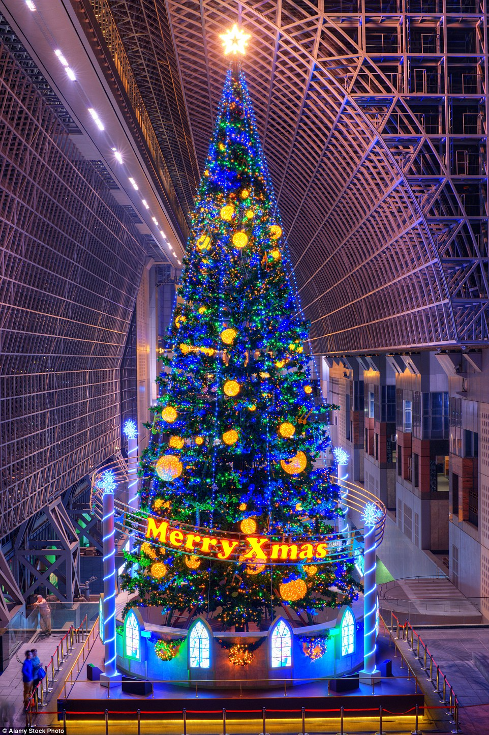 Kyoto station in Japan refer to their festive décor as 'the representative' of the building, as it stands firmly guarding the entrance every December