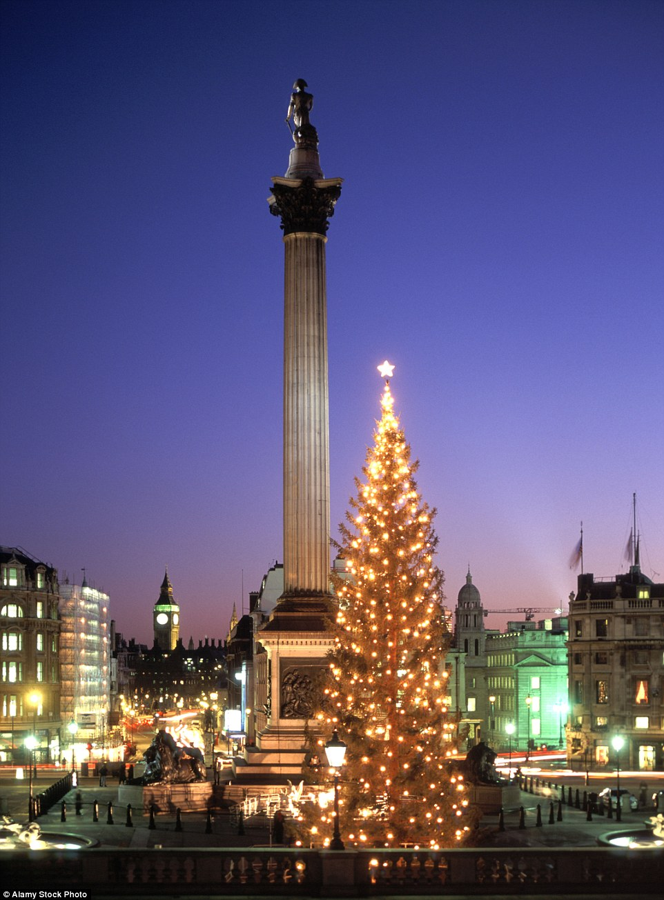 Trafalgar Square's stunning traditional Norwegian Christmas Tree was donated by  Oslo in Norway to the people of London