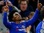 LONDON, ENGLAND - DECEMBER 09:  Willian of Chelsea (L) celebrates with team mates after scoring their second goal during the UEFA Champions League Group G match between Chelsea FC and FC Porto at Stamford Bridge on December 9, 2015 in London, United Kingdom.  (Photo by Clive Rose/Getty Images)