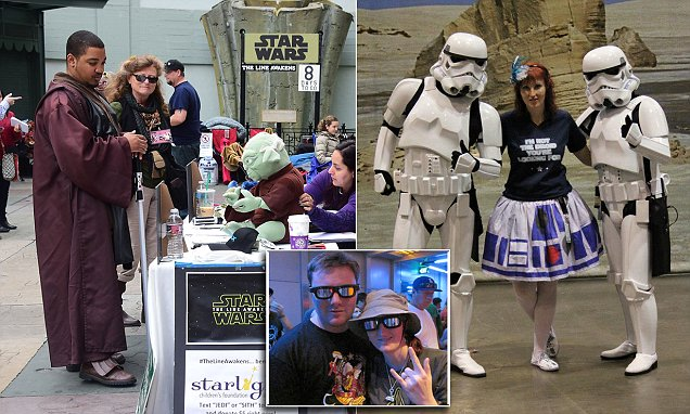 Star Wars fans get MARRIED as they queue up for The Force Awakens premiere