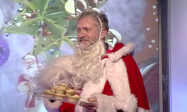 Jeremy Corbyn dressed as Father Christmas on live TV