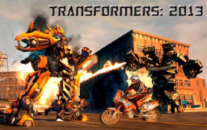 Transformers with douche on bike