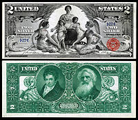 "$2 Silver Certificate, Series 1896, Fr.1896, depicting allegory entitled ""Science Presenting Steam and Electricity to Commerce and Manufacture"""