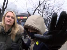 Sky's Katie Stallard outside the trial of China human rights lawyer.