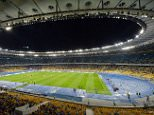 KIEV, UKRAINE - SEPTEMBER 19:  General view of the Olympic Stadium, home of FC Dynamo Kyiv taken during the UEFA Europa League group stage match between FC Dynamo Kyiv and KRC Genk held on September 19, 2013 at the Olympic Stadium, in Kiev, Ukraine. (Photo by Genya Savilov/EuroFootball/Getty Images)