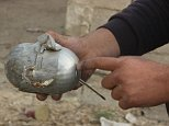 ALEPPO, SYRIA - DECEMBER 14: Alleged shrapnel of a cluster bomb is seen after the war crafts belonging to the Russian army attacked opposition controlled Merce neighborhood of Aleppo, Syria on December 14, 2015. 10 people died, 15 others injured after the attack. (Photo by Ibrahim Ebu Leys/Anadolu Agency/Getty Images)