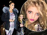 14 December 2015 - EXCLUSIVE. Katie Price and daughter Princess seen leaving the New Victoria Theatre this evening after her performance in 'Sleeping Beauty'. The pair left in very similar outfits and was both seen wearing heavy make up.  Credit: GoffPhotos.com   Ref: KGC-102 **Exclusive to GoffPhotos.com - Newspapers Allrounder - Mags Double Space Rates - Web/Online MUST CALL BEFORE USE**