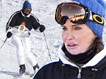 EXCLUSIVE: Caitlyn Jenner ski's on Mammoth mountain while filming scenes for 'I Am Cait'. Caitlyn and the film crew battled an early morning storm to film scenes for the reality show. Jenner,who wore a one piece ski suit, was joined by her friend Candis Cayne for the short trip to Mammoth Lakes, CA.