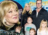 """LOS ANGELES, CA - DECEMBER 10:  TV personalities Tori Spelling and Dean McDermott and their children (L to R) Finn McDermott, Liam McDermott, Hattie McDermott and Stella McDermott, attend the premiere of Disney On Ice's """"Frozen"""" at Staples Center on December 10, 2015 in Los Angeles, California.  (Photo by Michael Tullberg/Getty Images)"""