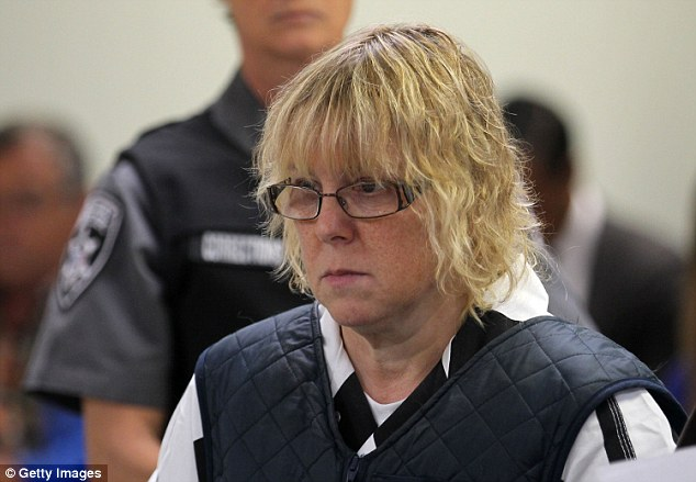Prison worker Joyce Mitchell is alleged to have had sex with the inmates and has been charged with helping them escape. She is pictured here in court this week wearing a bulletproof vest