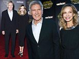 """Actor Harrison Ford and his wife, actress Calista Flockhart, arrive at the premiere of """"Star Wars: The Force Awakens"""" in Hollywood, California December 14, 2015.  REUTERS/Mario Anzuoni"""