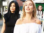 Kylie Jenner & Hailey Baldwin have lunch at The Ivy in West Hollywood  Pictured: Kylie Jenner, Hailey Baldwin Ref: SPL1197967  171215   Picture by: LA Photo Lab / Splash News  Splash News and Pictures Los Angeles: 310-821-2666 New York: 212-619-2666 London: 870-934-2666 photodesk@splashnews.com