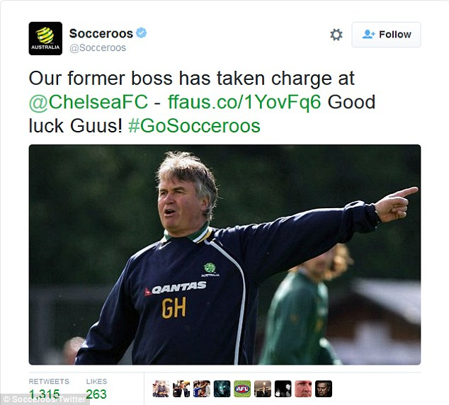 The Socceroos website tweeted congratulations to Guus Hiddink on becoming Chelsea's new manager