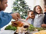 ADM8MB Family eating christmas dinner