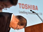 Japan's troubled electronics giant Toshiba president Masashi Muromachi bows his head as he announces the new management of the company at Toshiba's headquarters in Tokyo, Japan.  Crisis-hit Toshiba said it will book a net loss for the last fiscal year, as it scrambles to revise its financial records to account for a billion dollar accounting scandal. The company also announced that it would appoint a host of renowned Japanese business people as outside directors in a management overhaul to improve its corporate culture, in which high-handed bosses routinely pressured their subordinates to inflate profits.     afAFP PHOTO / Yoshikazu TSUNO        (Photo credit should read YOSHIKAZU TSUNO/AFP/Getty Images)