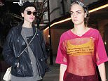17 DEC 2015 - London - UK *** EXCLUSIVE PICTURES *** BRITISH MODEL CARA DELEVINGNE AND RUMOURED GIRLFRIEND ANNIE CLARK AKA ST VINCENT PICTURED ON A LUNCH DATE AT TRENDY J SHEEKY RESTAURANT IN LONDON. BYLINE MUST READ : XPOSUREPHOTOS.COM ***UK CLIENTS - PICTURES CONTAINING CHILDREN PLEASE PIXELATE FACE PRIOR TO PUBLICATION *** GERMAN CLIENTS PLEASE CALL TO AGREE FEE PRIOR TO PUBLICATION **UK CLIENTS MUST CALL PRIOR TO TV OR ONLINE USAGE PLEASE TELEPHONE  +44 208 344 2007**
