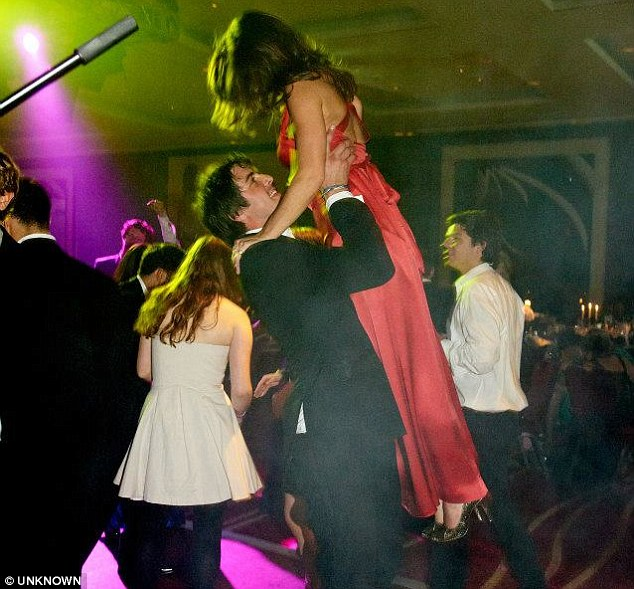 Charlie ¿Sharky¿ Astor hoists Pippa Middleton above his head at the fashionable Boodles Boxing Ball in London