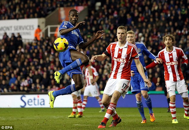 Out of control: Ramires tries to control a cross from the right hand side as Stoke skipper Ryan Shawcross looks on
