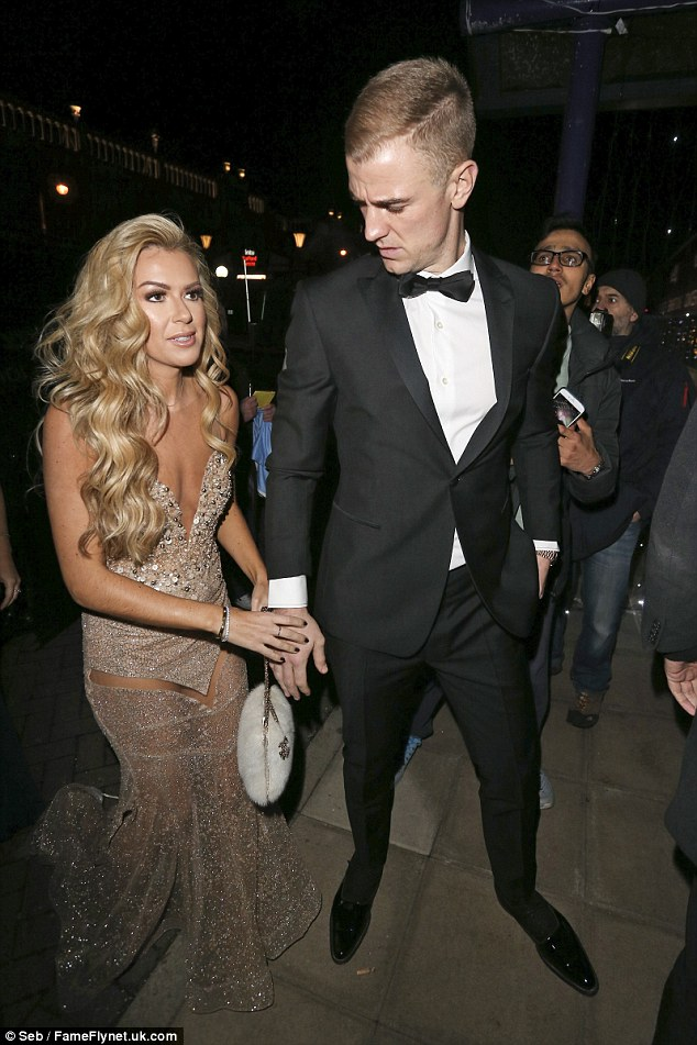 All star player:England goal keeper Joe Hart looked incredibly dashing in a tuxedo yet his stunning wife-of-five-months stole the show