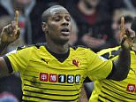 epa05076911 Watford's Odion Ighalo (L) celebrates scoring their third goal against Liverpool  during their Premier League match at Vicarage Road, London, Britain, 20 December 2015.  EPA/GERRY PENNY EDITORIAL USE ONLY. No use with unauthorized audio, video, data, fixture lists, club/league logos or 'live' services. Online in-match use limited to 75 images, no video emulation. No use in betting, games or single club/league/player publications.