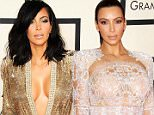 Mandatory Credit: Photo by Startraks Photo/REX/Shutterstock (4419631gp).. Kim Kardashian.. 57th Annual Grammy Awards, Arrivals, Los Angeles, America - 08 Feb 2015.. The 57th Annual Grammy Awards - Arrivals WEARING JEAN PAUL GAULTIER SAME OUTFIT as catwalk model 4384193ax..