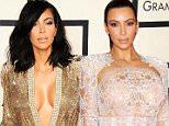 Mandatory Credit: Photo by Startraks Photo/REX/Shutterstock (4419631gp).. Kim Kardashian.. 57th Annual Grammy Awards, Arrivals, Los Angeles, America - 08 Feb 2015.. The 57th Annual Grammy Awards - Arrivals WEARING JEAN PAUL GAULTIER SAME OUTFIT as catwalk model 4384193ax..