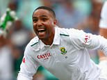 DURBAN, SOUTH AFRICA - DECEMBER 26:  Dane Piedt of South Africa celebrates lbw for Joe Root of England during day one of the 1st Test between South Africa and England at Sahara Stadium Kingsmead on December 26, 2015 in Durban, South Africa.  (Photo by Julian Finney/Getty Images)