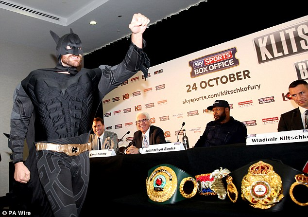 Fury stunned Klitschko by arriving for press conference in September in a Batman costume