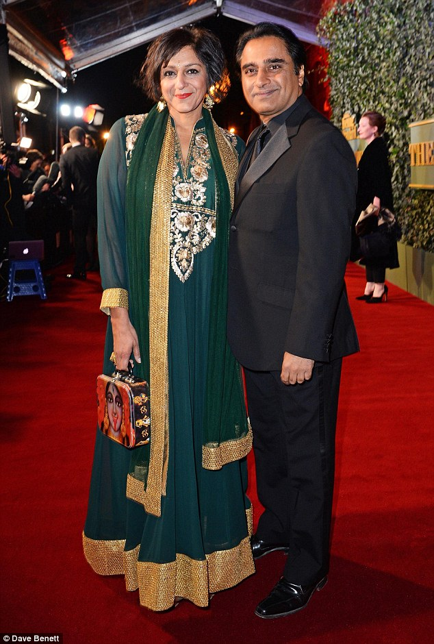 Foirmalwear: Meera Syal (L) and Sanjeev Bhaskar arrived together and looked well turned-out