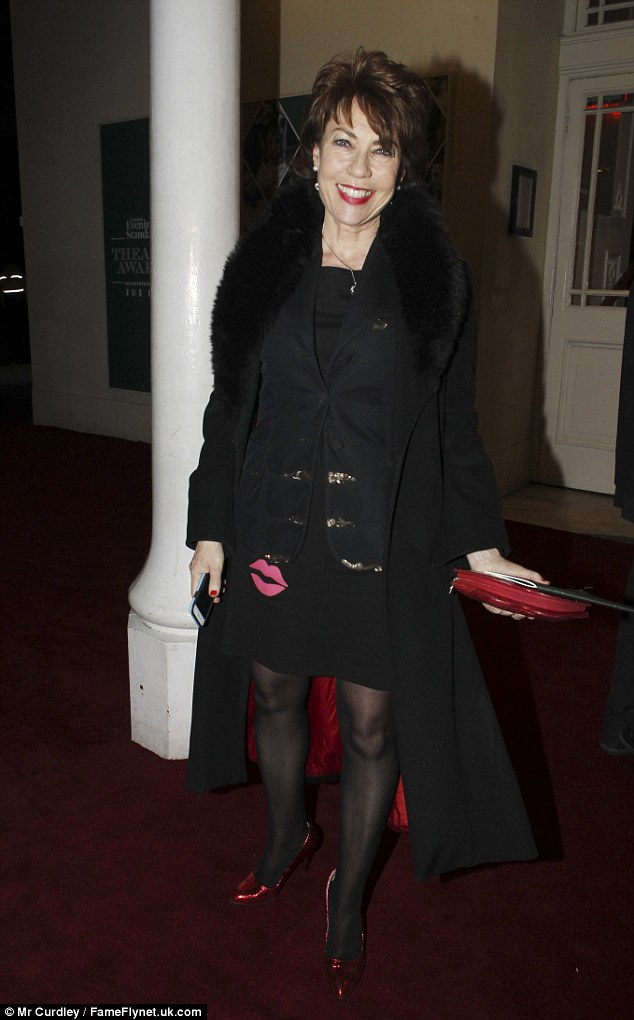 Lippy: Australian author Kathy Lette wore all black to the event, with red and pink accents