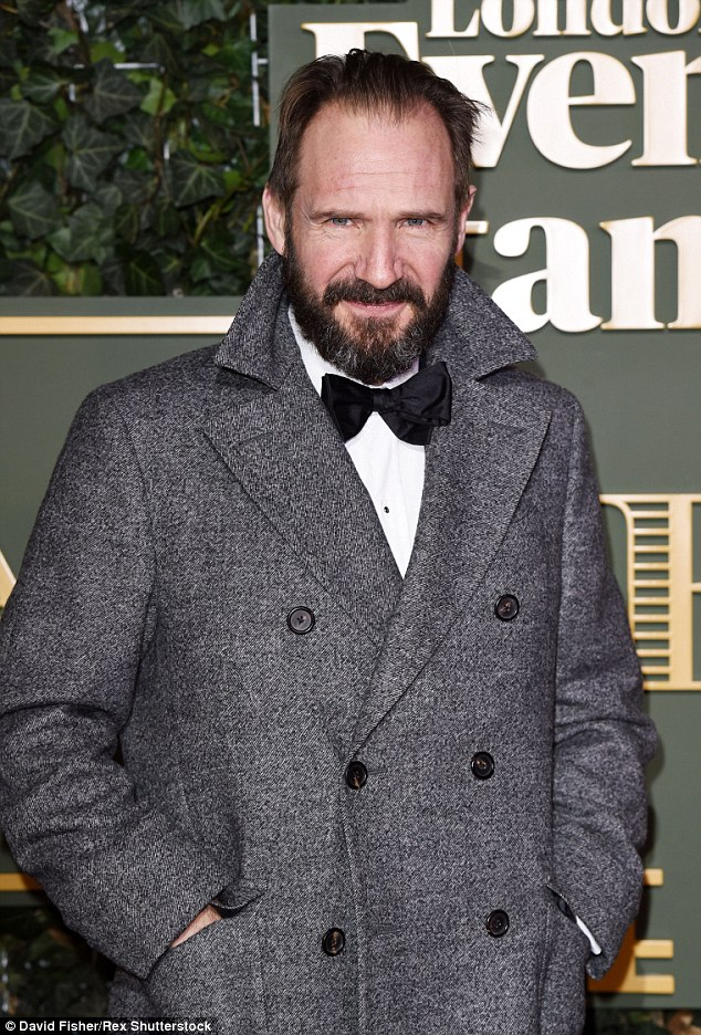 Dapper dude:Ralph Fiennes was typically handsome as he arrived at the Evening Standard Theatre Awards