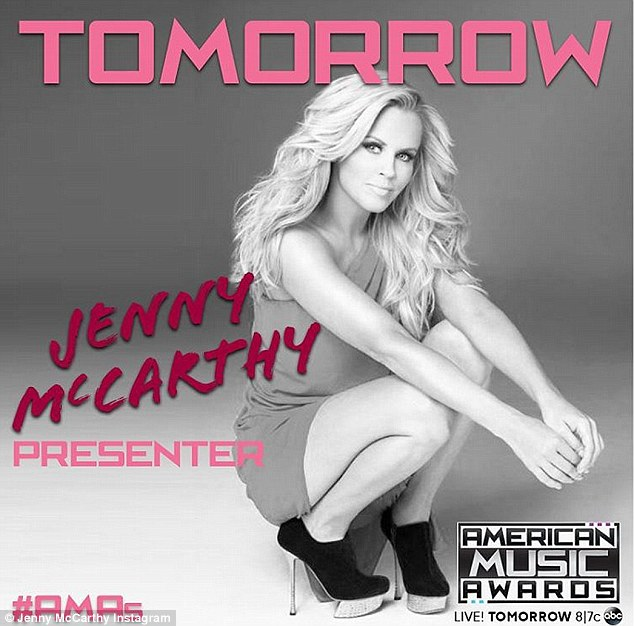 'Excited to present at @TheAMAs!' Jenny McCarthy looked glam in a promo snap