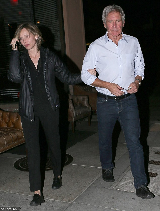 Reunion: Harrison Ford and his wife Calista Flockhart enjoyed dinner in Via Veneto with his grown children Georgia and Malcolm in Santa Monica on Saturday night