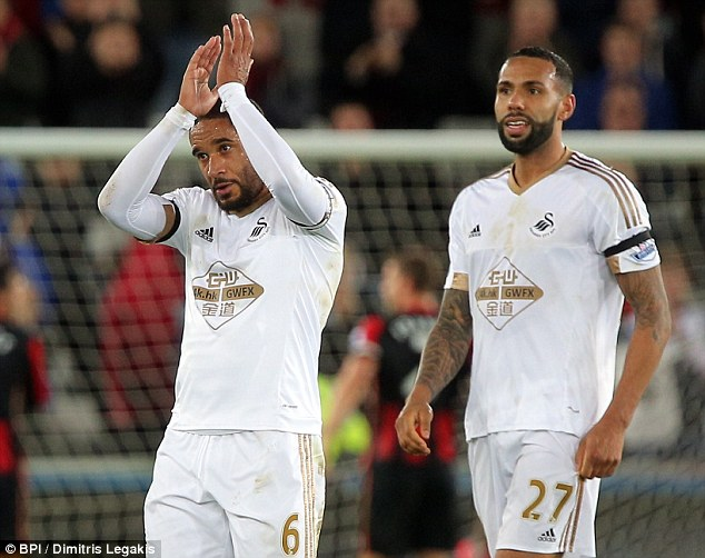 Swansea captain Ashley Williams (left) insists that his side remain firmly behind manager Garry Monk
