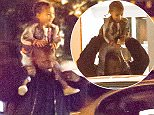 UK CLIENTS MUST CREDIT: AKM-GSI ONLY EXCLUSIVE: Kanye West was seen leaving a Los Angeles restaurant with a happy little girl, North West, perched atop his shoulders. Kanye and North dined with friends at The Peddlers Fork restaurant.  Pictured: Kanye West and North West Ref: SPL1201117  271215   EXCLUSIVE Picture by: AKM-GSI / Splash News